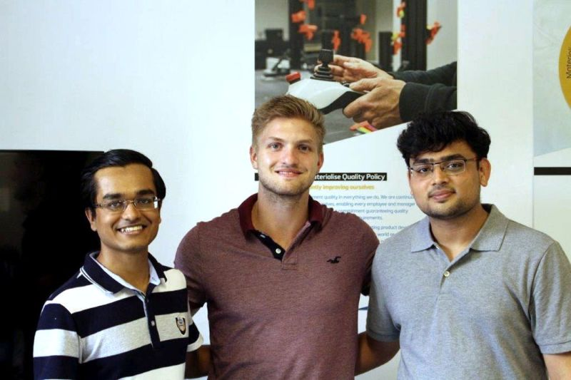 Keyur Solanki (left) and Chirag Shah (right) with Tim Steghofer, a student intern at Materialise GmbH