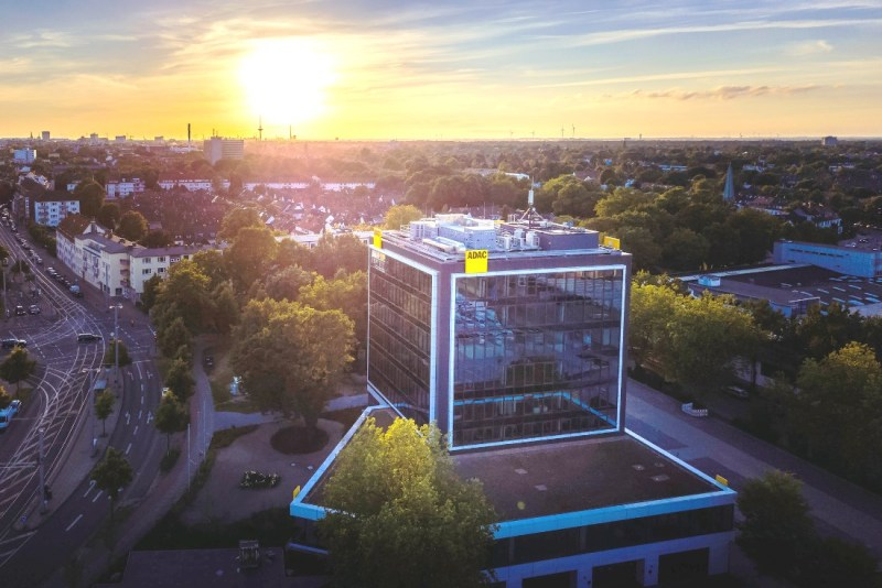 ADAC building in Bremen-Hastedt at sunset