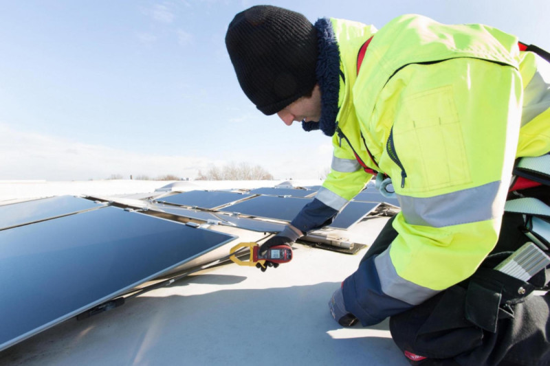 Maintenance teams from ADLER Solar check that existing panels are working properly