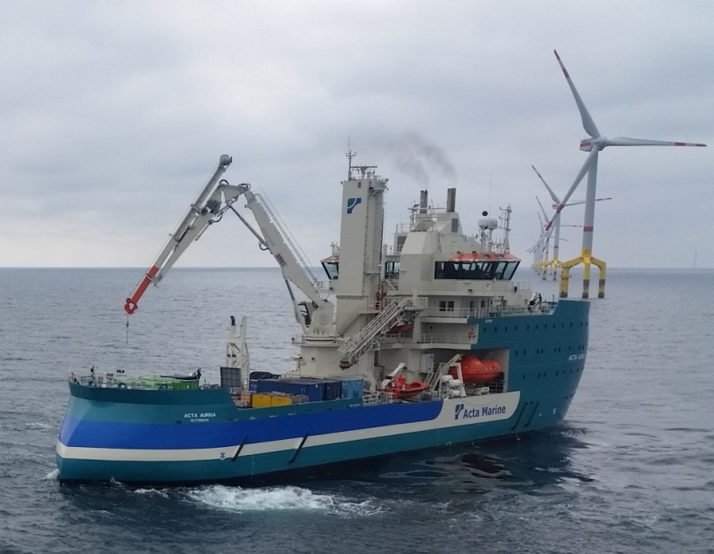Acta Auriga, one of two service vessels at the BO1 wind farm