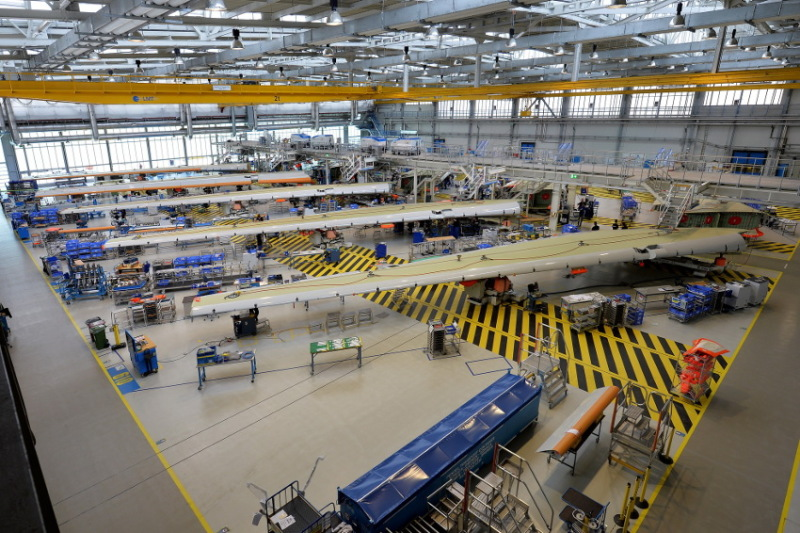 Airbus' wing manufacturing process allows different model series to be assembled simultaneously