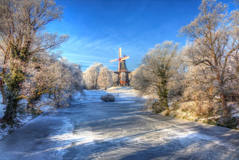 Windmill in wintertime