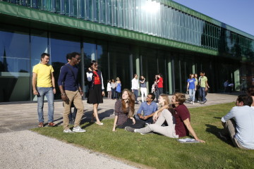 Students at the Jacobs University campus in north Bremen