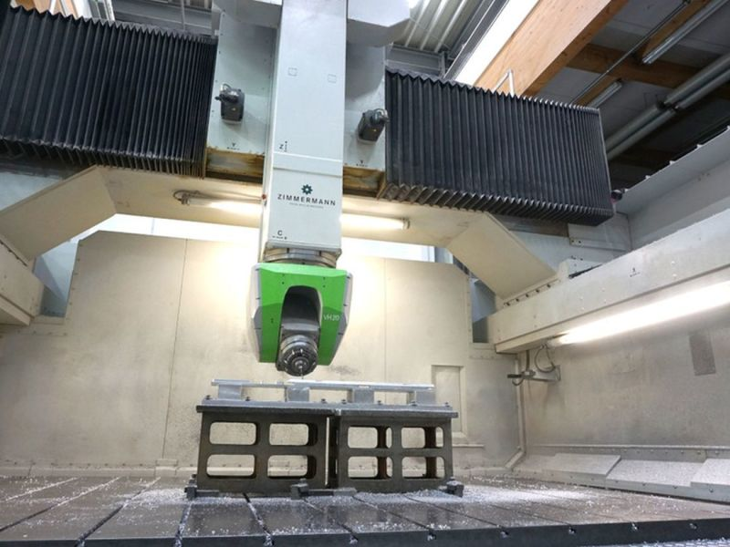 Gigantic CNC milling machines work on aluminium blocks