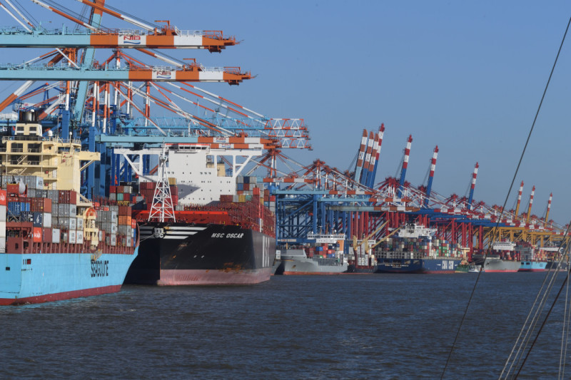 A five kilometre stretch of container ships being loaded and unloaded in Bremerhaven.