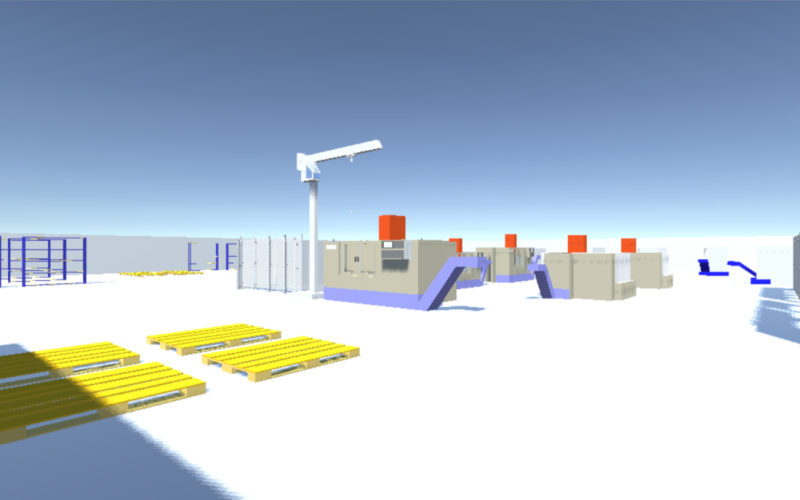 In a 3D environment, each factory is digitally represented