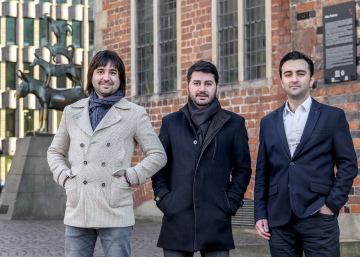 The three founders of Yurudesign: Ender Alsan, Mehmet Var and new Bremen resident Cagri Yilmaz