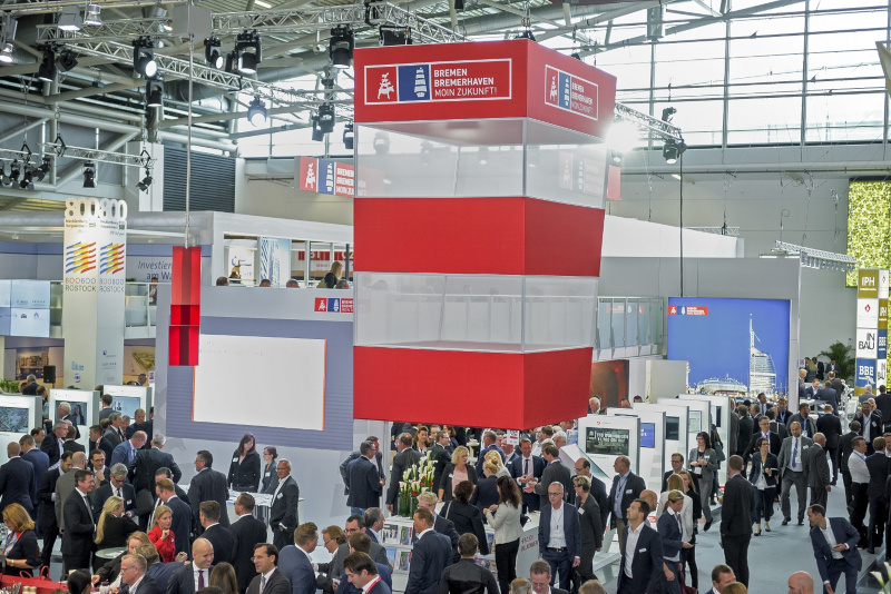 The shared stand of Bremen and Bremerhaven at the Expo Real 2018