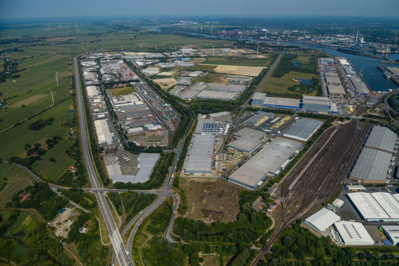 Bremen's Cargo Distribution Center links water, road and rail.