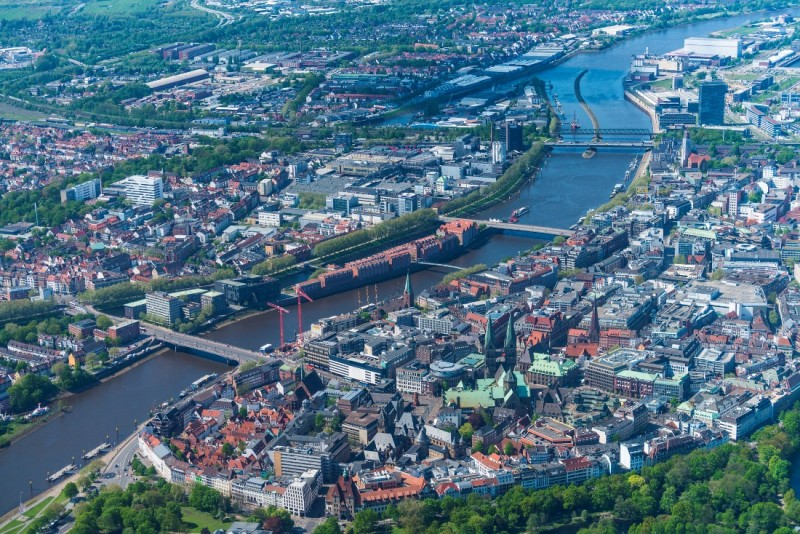 Aerial view of Bremen's city centre in 2018