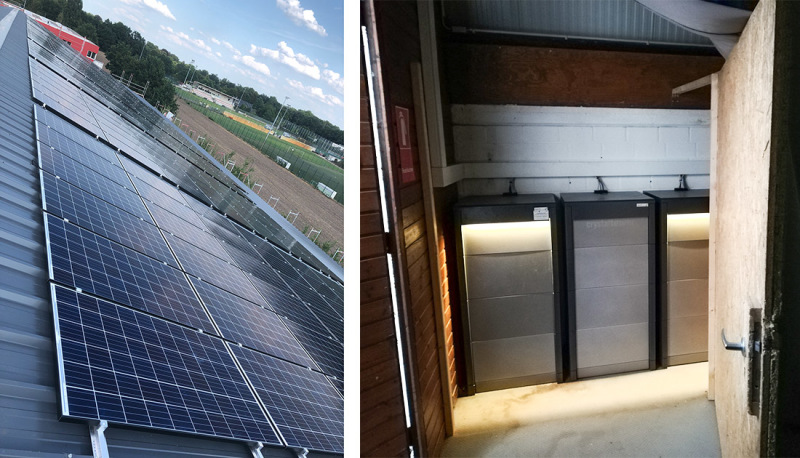 Solar cells on the roof of Bremen Hockey Club feed electricity into the storage units