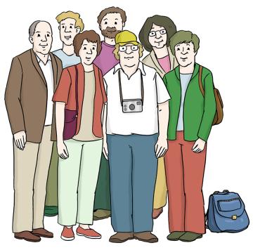 Eine Gruppe Menschen zu Besuch in Bremen