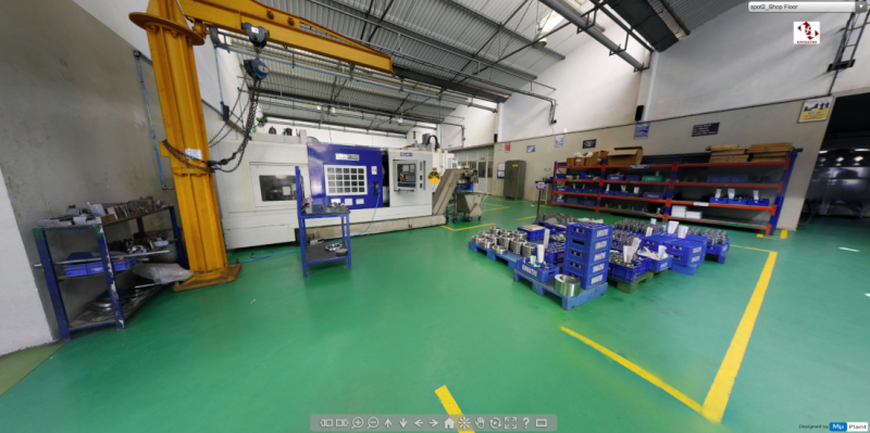 In addition to the 3D environment, factories can also be visited as in Google Streetview
