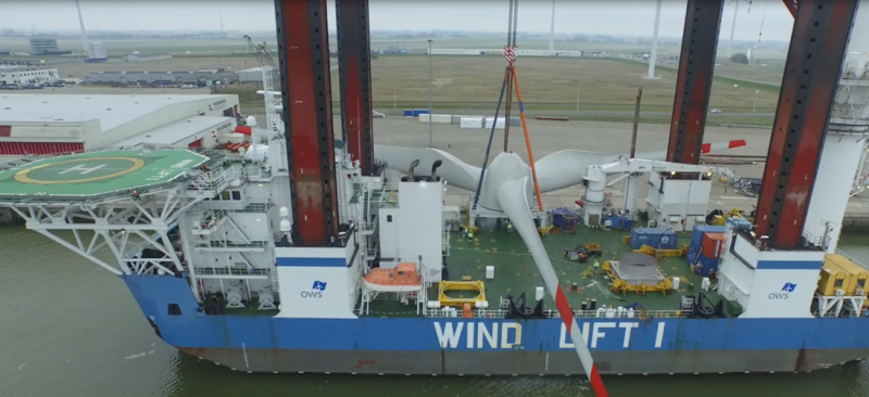 Windlift 1 is designed for major repair work on the wind farm.