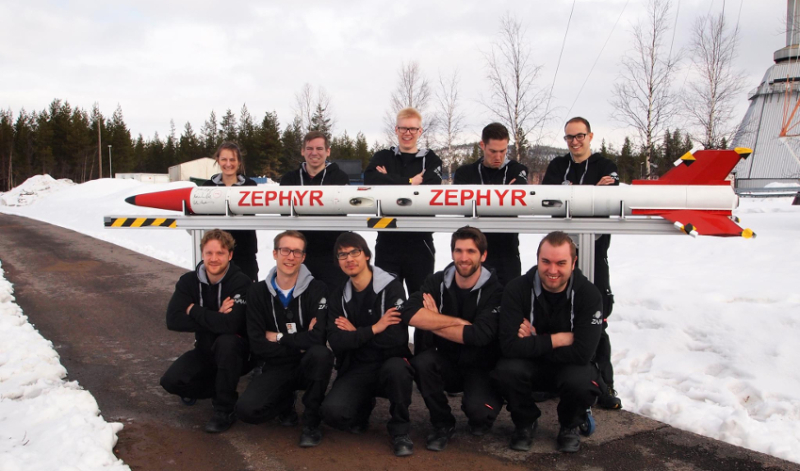 The ZEpHyR team with its rocket at the space centre