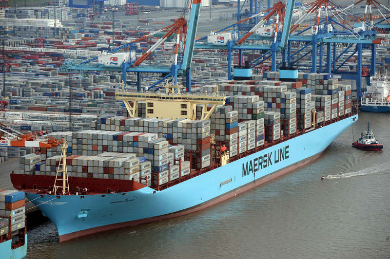 World no.1: Maersk from Denmark, here with the nearly 400 meter-long Maribo Maersk from 2014